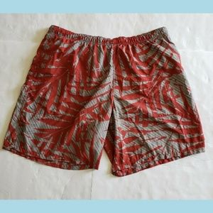 COLUMBIA Men's Red/Gray Palm Print Swim Trunks XXL